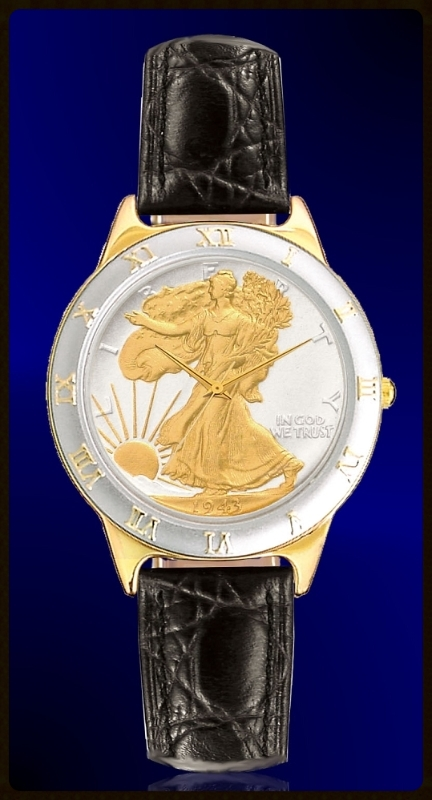 Walking Liberty Half Dollar Mens Strap Coin Watch R323-WL2-0