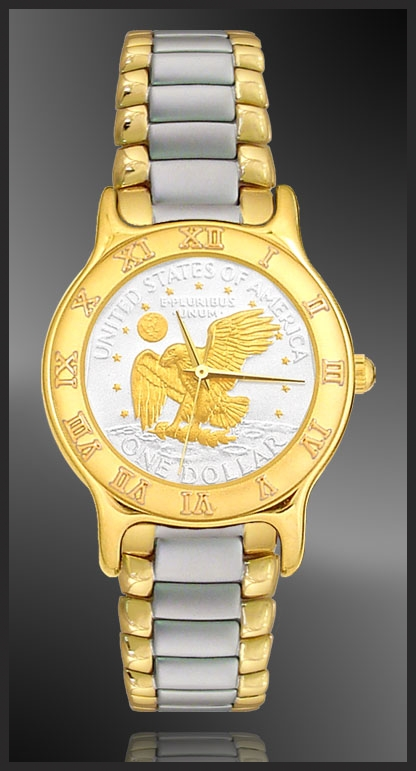 Apollo Landing Eagle Dollar Mens Bracelet Coin Watch R333-AL2-2