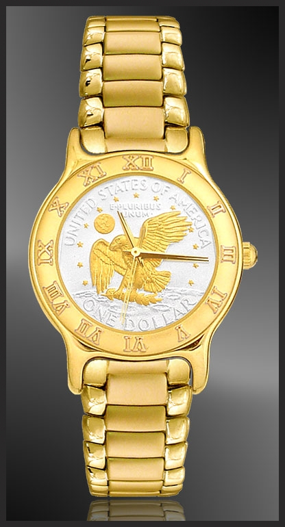 Apollo Landing Eagle Dollar Mens Bracelet Coin Watch R333-AL2-3