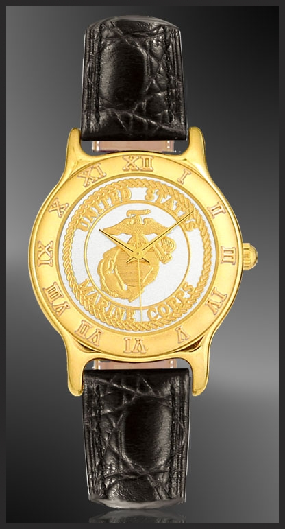 US Marine Corps Mens Strap Medallion Watch R333-MMC2-0
