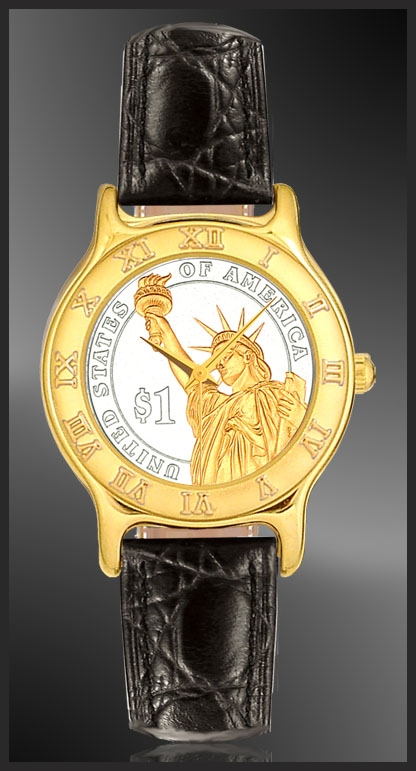 Statue of Liberty Dollar Ladies Strap Coin Watch R333-P02-L0