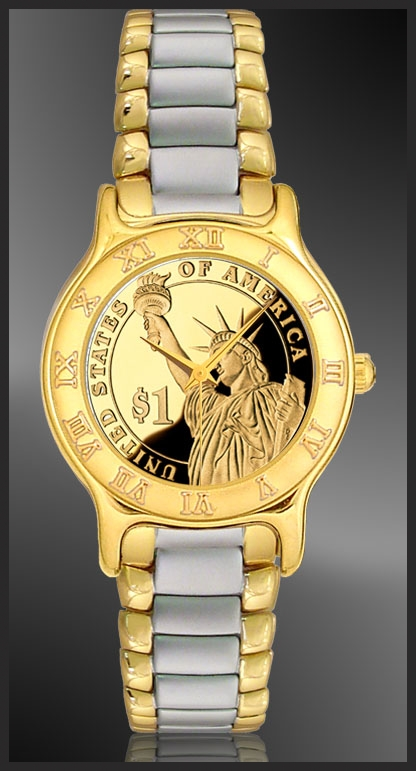 Statue of Liberty Dollar Mens Bracelet Coin Watch R333-PSLP-2