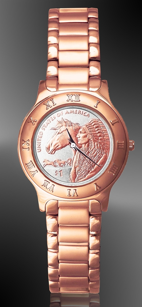 Native American Horse Dollar Ladies Rose Gold Bracelet Coin Watch R444-SH24-L4