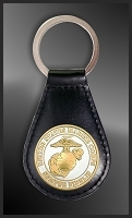 US Military Medallion Leather Key Fob RL27-MIL2