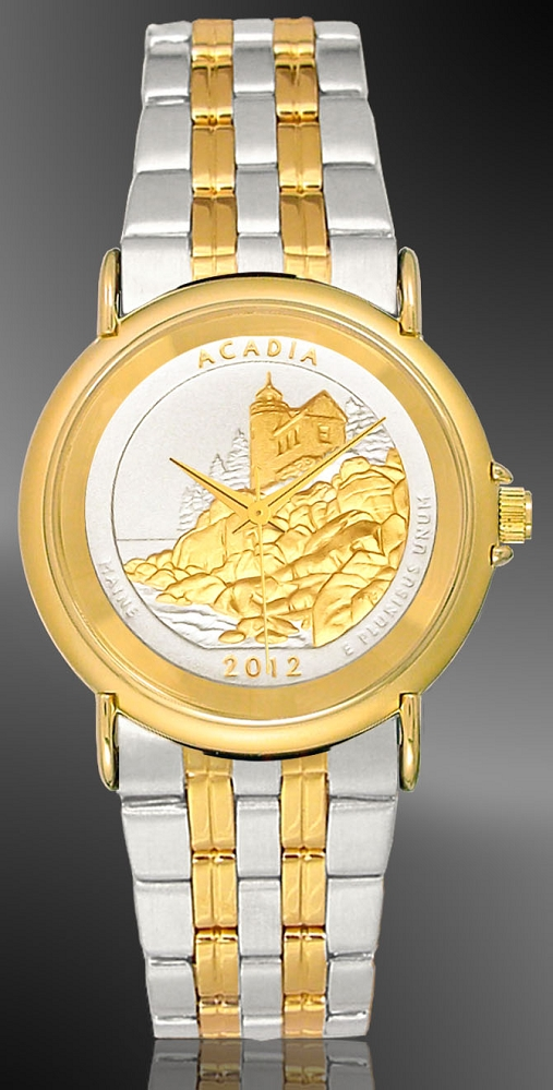 America The Beautiful Quarters Youth/Unisex Two-tone Bracelet Coin Watch S333-IUS2-2