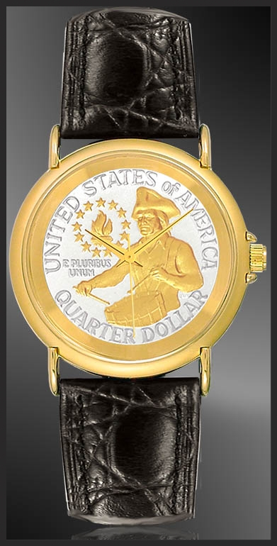 Bicentennial Drummer Quarter Youth/Unisex Goldtone Strap Coin Watches S333-QDR2-0