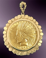Ten Dollar Gold Piece (Indian) Nugget Pendant PNG8-10I