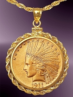 10 Dollar Indian Head Gold Coin Necklace NRR8-DE10-20C8