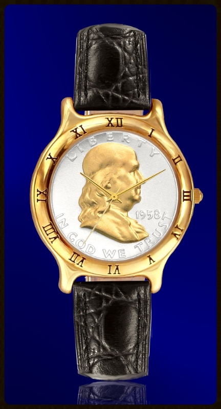 Mens Leather Ben Franklin Half Dollar Watch C335-BF2-0
